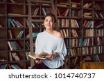 happy day in library. ... | Shutterstock . vector #1014740737
