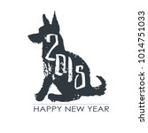 black hand drawn isolated dog... | Shutterstock .eps vector #1014751033