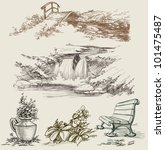 park or garden design elements | Shutterstock .eps vector #101475487