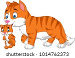 cartoon cat carrying her baby | Shutterstock .eps vector #1014762373