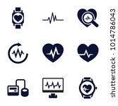 pulse icons. set of 9 editable... | Shutterstock .eps vector #1014786043