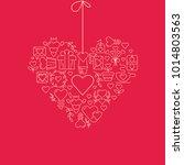 garland heart template sketch... | Shutterstock .eps vector #1014803563
