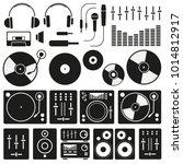 vector music icon set on white...