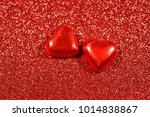 red background with hearts...   Shutterstock . vector #1014838867