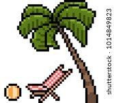 vector pixel art holiday beach... | Shutterstock .eps vector #1014849823