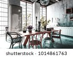 dining room with tables  chairs ... | Shutterstock . vector #1014861763