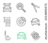 auto workshop linear icons set. ... | Shutterstock .eps vector #1014890473