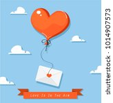 heart shaped balloon with mail... | Shutterstock .eps vector #1014907573