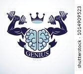 power brain emblem  genius... | Shutterstock .eps vector #1014909523