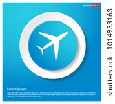 airplane icon blue web sticker...
