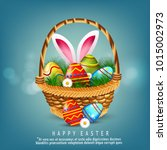 easter background with easter... | Shutterstock .eps vector #1015002973