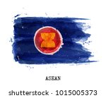 watercolor flag of asean... | Shutterstock .eps vector #1015005373