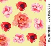 watercolor flower illustration... | Shutterstock . vector #1015007173