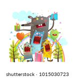 party animals cats mouse... | Shutterstock .eps vector #1015030723