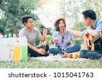 young teen groups having fun...   Shutterstock . vector #1015041763