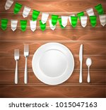 realistic table setting... | Shutterstock .eps vector #1015047163