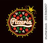 pizzeria promotional logotype... | Shutterstock .eps vector #1015060057