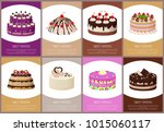 cakes variety delicious...   Shutterstock .eps vector #1015060117