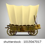 wild west covered wagon... | Shutterstock .eps vector #1015067017