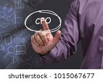 Small photo of Business, Technology, Internet and network concept. Young businessman shows the word: CFO