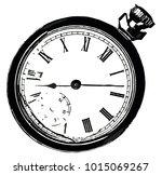 a broken old pocket watch... | Shutterstock . vector #1015069267