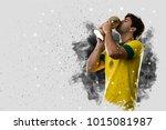brazilian soccer player coming... | Shutterstock . vector #1015081987