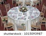 wedding table decoration | Shutterstock . vector #1015093987
