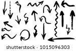 grunge vector arrows. dry brush ... | Shutterstock .eps vector #1015096303