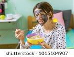 healthy living. teenage girl... | Shutterstock . vector #1015104907