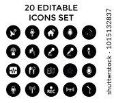 radio icons. set of 20 editable ... | Shutterstock .eps vector #1015132837
