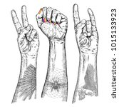 youth crowd hands manifesting...   Shutterstock . vector #1015133923