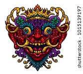 indonesian bali mask.... | Shutterstock .eps vector #1015139197