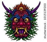 indonesian bali mask.... | Shutterstock .eps vector #1015139203
