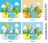 seasonal weather set landscapes | Shutterstock .eps vector #1015151707