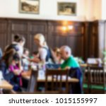 blurred view of group of... | Shutterstock . vector #1015155997
