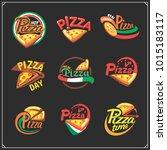 set of pizza labels  badges ... | Shutterstock .eps vector #1015183117