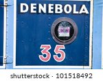 Number 35 painted on side of a narrow boat - stock photo