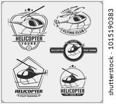 set of helicopter emblems ... | Shutterstock .eps vector #1015190383