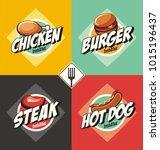 fast food diner labels set.... | Shutterstock .eps vector #1015196437