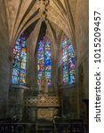 Small photo of DINAN, BRITTANY, FRANCE, 15 JUNE 2015 - Interior of the Basilique Saint-Sauveur, church in the city of Dinan, Brittany, France