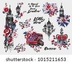 watercolor london vector... | Shutterstock .eps vector #1015211653