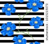 flax blue flowers. seamless... | Shutterstock .eps vector #1015215073