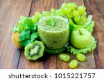 detox drink with kiwi grapes... | Shutterstock . vector #1015221757