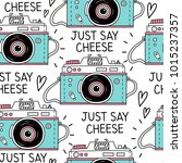 seamless pattern with retro... | Shutterstock .eps vector #1015237357