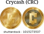 set of physical golden coin... | Shutterstock .eps vector #1015273537