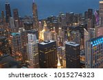 chicago  wind city at night... | Shutterstock . vector #1015274323