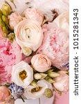 peonies and ranunculus flower...   Shutterstock . vector #1015281343