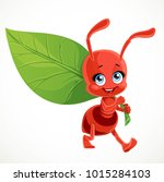 cute cartoon red ant carries... | Shutterstock .eps vector #1015284103