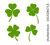 set of green clover leaves... | Shutterstock .eps vector #1015286713