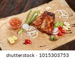 grilled pork ribs with sweet... | Shutterstock . vector #1015303753
